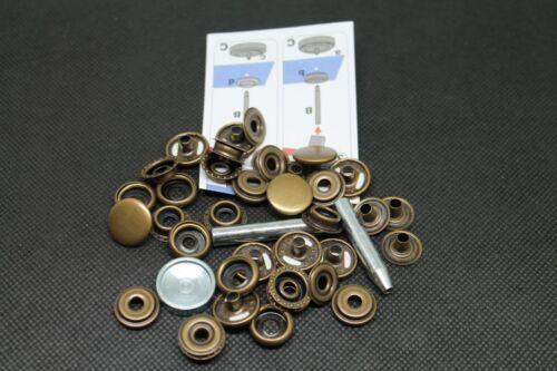 Bottoni a pressione Sport e da Campeggio Ø 15mm con istruzioni e strumento brunito 7 pezzi
