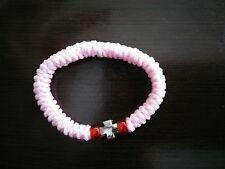 Elastic Orthodox Chotki Bracelet Prayer Rope Komboskini PINK, Cross & Red Beads