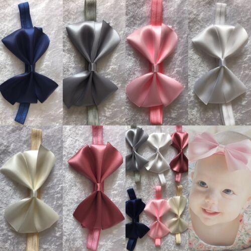 GRANDE fiocco in raso bambina cerchietto Soft FASCIA ELASTICA VARI accessori per capelli + LOTTO