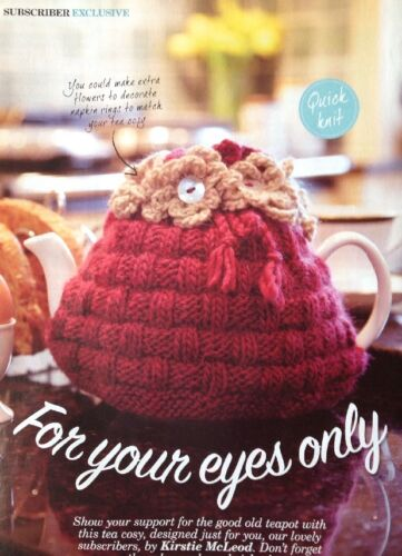 Knitting Pattern for Pretty Tea Cosy With Crochet Flowers