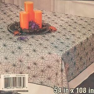 Image Is Loading Gothic Black Iridecent Tablecloth Spider Web Table Cloth