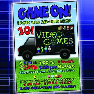 Video game truck birthday party invitation digital file ebay image is loading video game truck birthday party invitation digital file filmwisefo