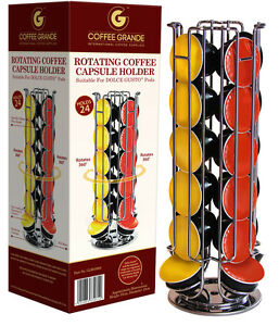 tournant 24 capsule porte dosette caf rack support tour pour dolce gusto 33992 ebay. Black Bedroom Furniture Sets. Home Design Ideas