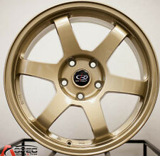 17X8 ROTA GRID WHEELS 5X100 GOLD RIMS +35MM FITS SCION FR-Z BRZ TC WRX