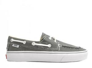 Details about VANS ZAPATO DEL BARCO PEWTER/TRUE WHITE BOAT CASUAL CANVAS SNEAKERS