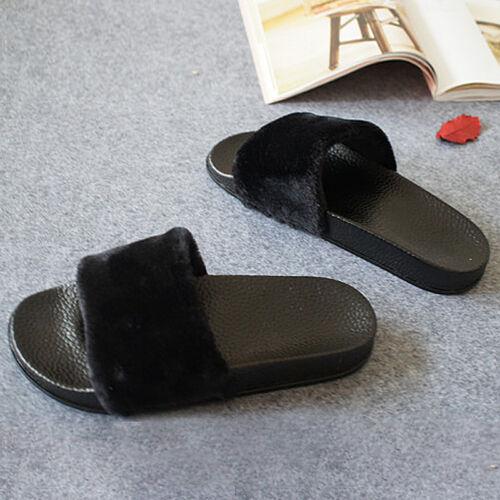 Faux Pelz Slides Flip Flop Damen Pantoffeln Flache Hausschuhe Sandalen Gr:36~40