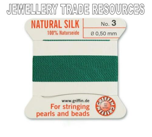 GREEN SILK STRING THREAD 0.50mm STRINGING PEARLS /& BEADS GRIFFIN SIZE 3
