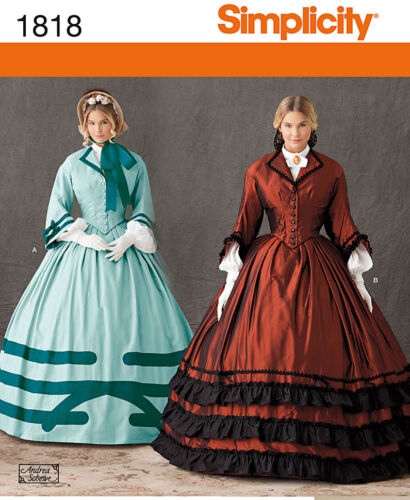 NEW OUT OF PRINT CIVIL WAR GOWN DAY DRESS GOWN PATTERN 1818 sizes 8-24