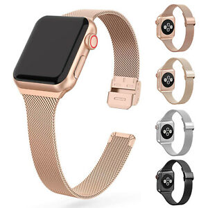 For Apple Watch Series 5 4 3 2 1 Slim Stainless Steel Band Iwatch 38 40 42 44 Mm Ebay