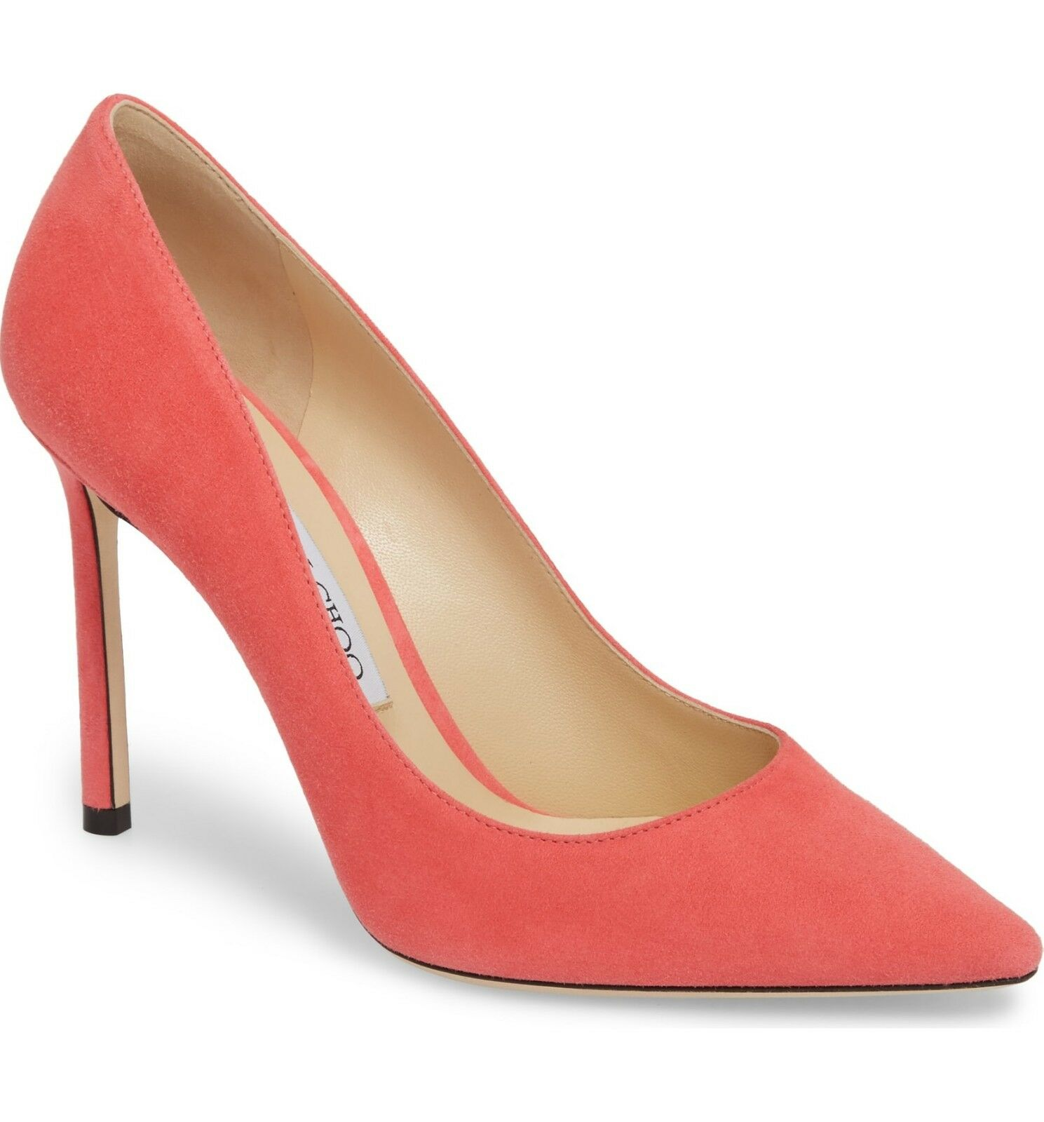 NIB Jimmy Choo ROMY Pointy Toe Pump Heel Heel Heel shoes FLAMINGO PINK Suede 38 -7.5 3d6ec4
