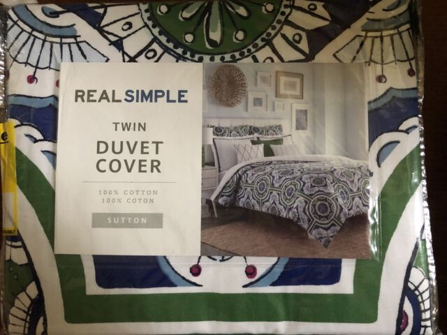 Real Simple Sutton Twin Duvet Cover in Green