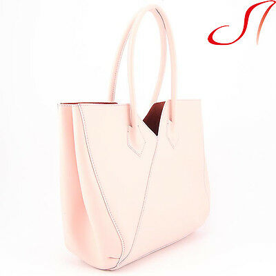 Echt Leder Shopper Rosa Ledershopper Ital Ledertasche Tasche in Tasche Damen NEU