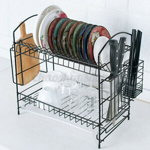 2-Tier-Dish-Drying-Rack-Stainless-Steel-Drainer-Tray-Kitchen-Space-Saver-Storage