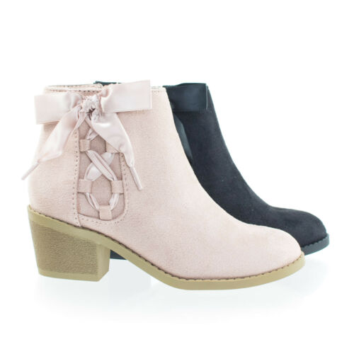 Coco2 Children Girl/'s Block Heel Ankle Bootie w Corset Lace Bow