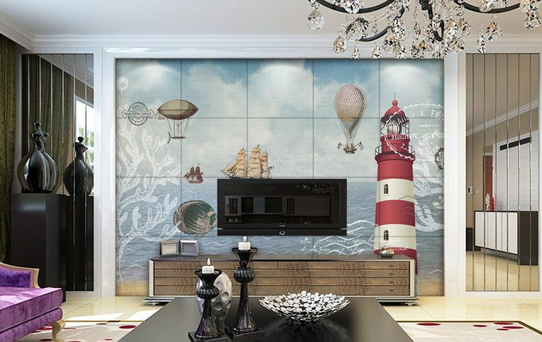3D IL Mare, il Faro 4 Parete Murale Carta da parati immagine sfondo muro stampa