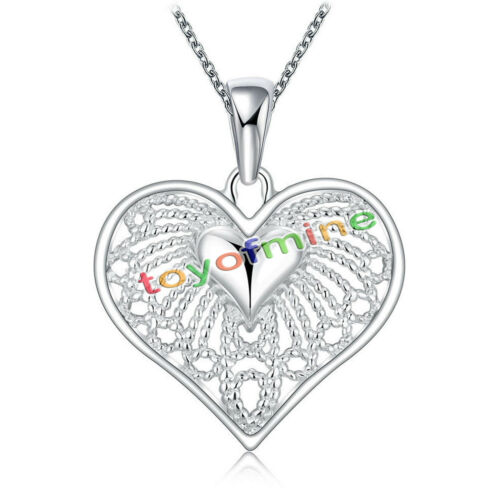 1 of 1 - 925 Sterling Silver HEART Pendant Charm Necklace Chain Stunning Gift