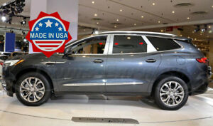2018-2019-Buick-Enclave-6Pc-Chrome-Pillar-Post-Trim-Stainless-Steel-Door-Cover