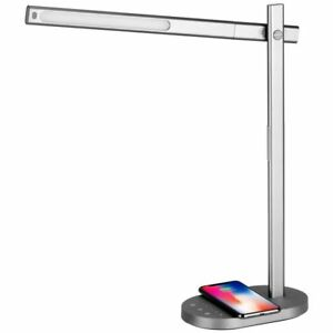 Details About Momax Q Led Desk Table Lamp With Wireless Charging Base Grey Us Plug