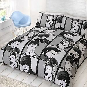 Image Is Loading Hollywood Icons Duvet Cover Bed Set Amp Pillow