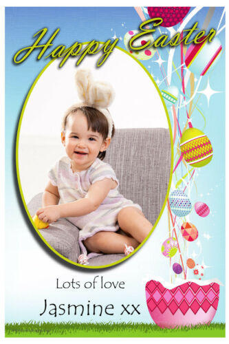 10 Personalised Happy Easter Egg PHOTO Cards N3 ~ Send a special Easter Card