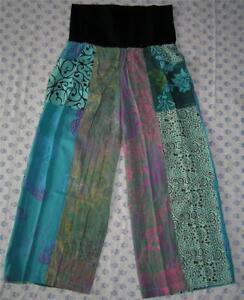 Crop taille élastique Sea Batik sauvage Loose Aqua Femme Patch Rayonne Roll Top Pant wXx4gpqAF