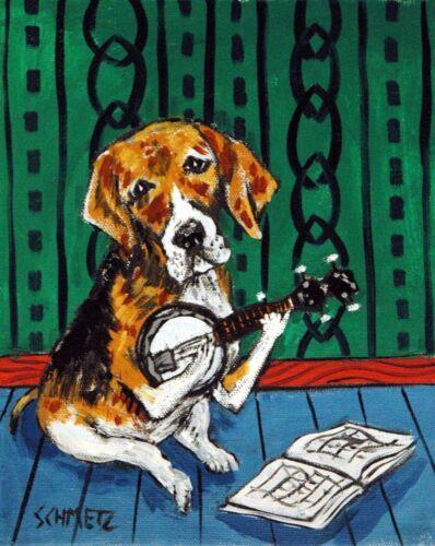 Beagle 8x10  art print banjo animals impressionism modern poster gift pet