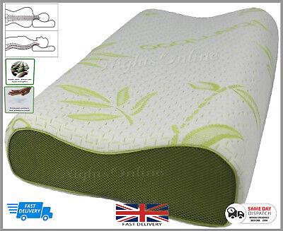 Accurato Bamboo Contour Memory Foam Pillow Ortopedico Testa Ferma Supporto Collo 40x60-mostra Il Titolo Originale Morbido E Antislipore