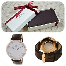 *NEW* Daniel Wellington 'Bristol' 0109DW Classic Mens Rose Watch Brown Leather