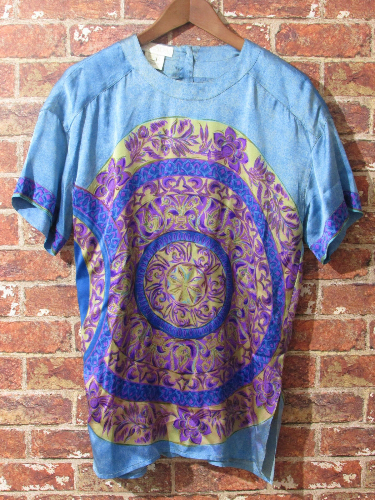 VTG ESCADA 100% Silk Tunic Blouse Dress sz 36 US 4 S Medallion Floral Designer