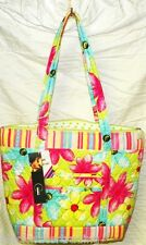 Green with Pink Blue Flowers Floral Quilted Purse Handbag Tote Bag NWT #LA7B819