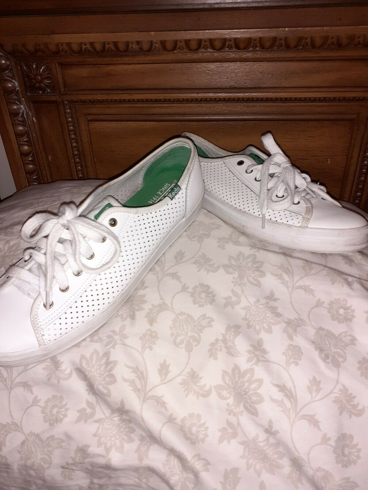 womens white leather keds tennis shoes green