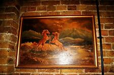 Huge 20th century Oil Painting Americana wildlife Mustang Wild horses folkart