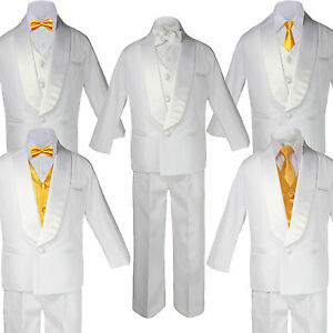 a7e534a8701d Baby Boy White Satin Shawl Lapel Tuxedo YELLOW Satin Bow Necktie ...