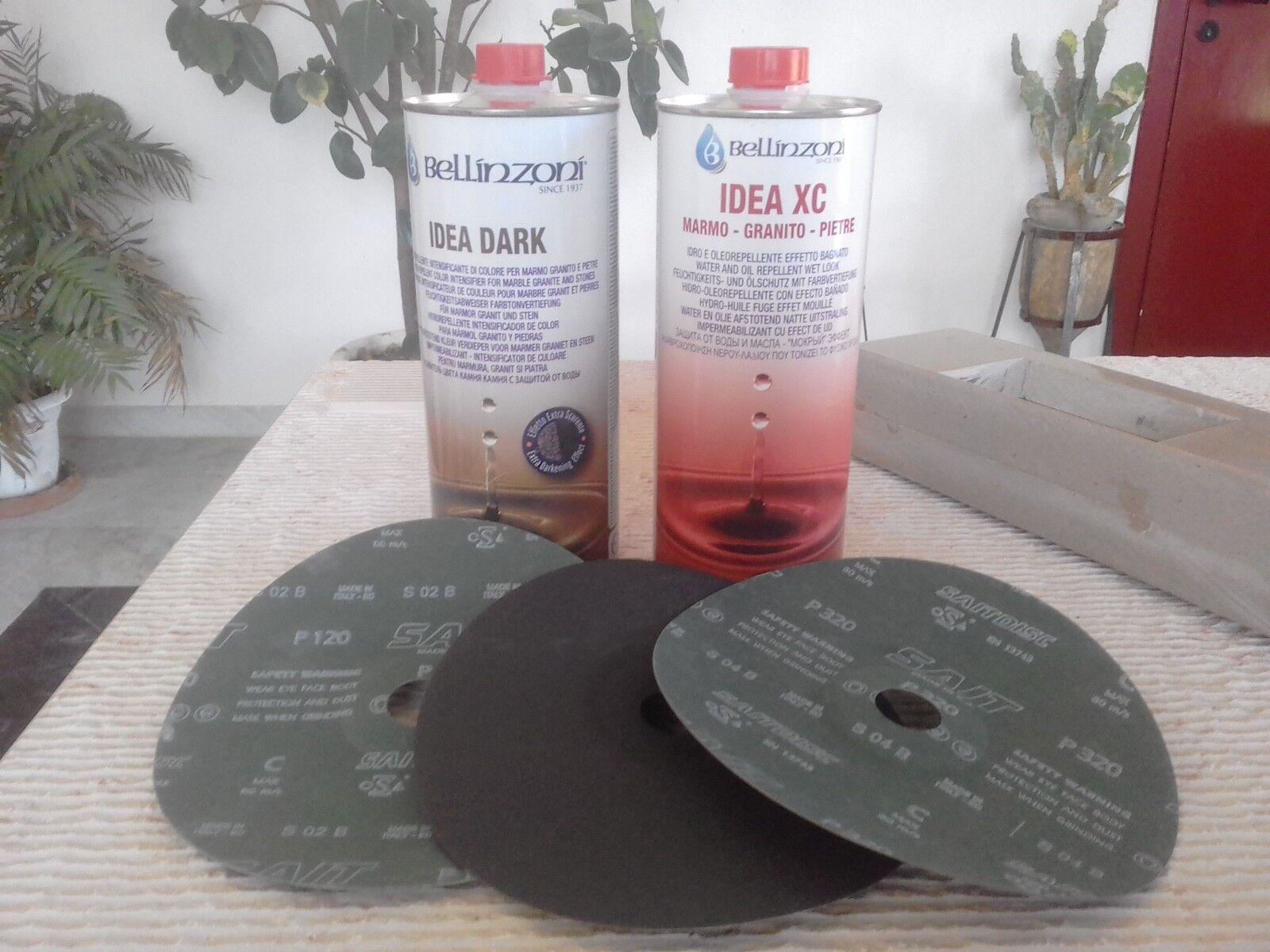 Kit per pulire lucidare marmo,pietre.Oleorepellente+disco flex grana 120,220,320