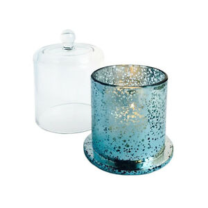 DELUXE-METRO-ANTIQUE-TEAL-SILVER-AND-GLASS-CLOCHE-COVER