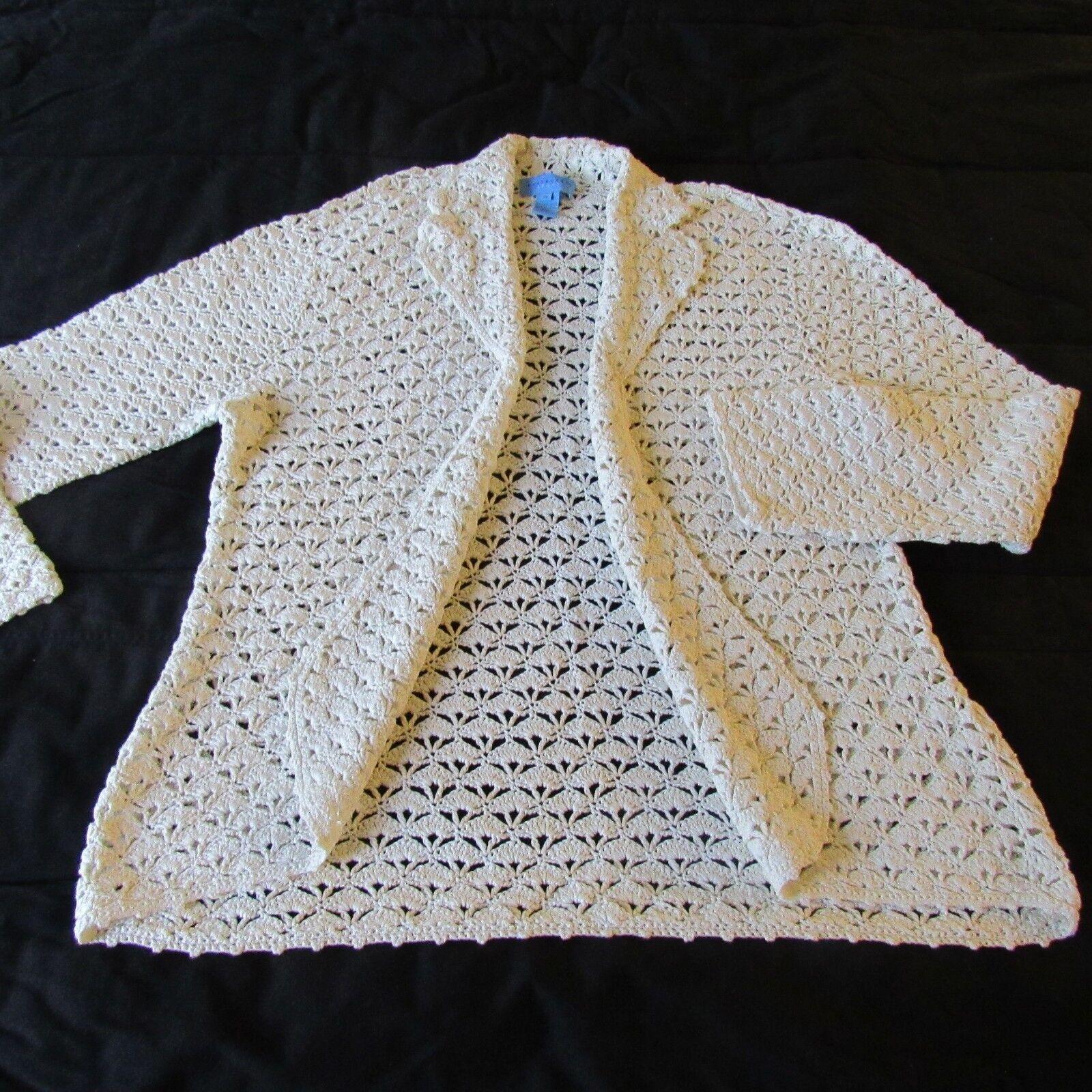 Doncaster Fine Clothing Cardigan Sweater 1X 2X  Crochet Mercerized Cotton