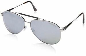 89566c38a3 RARE NEW TOM FORD RICK Black Silver Mirror Pilot Sunglasses TF ...