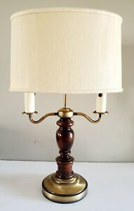 Vintage French Empire Bouillotte Wood/ Brass 2 Candlestick Lamp w Original Tole