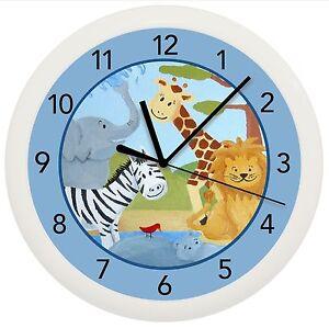 SAFARI JUNGLE WALL CLOCK GIFT WALL DECOR NURSERY BABY BOY SHOWER ...