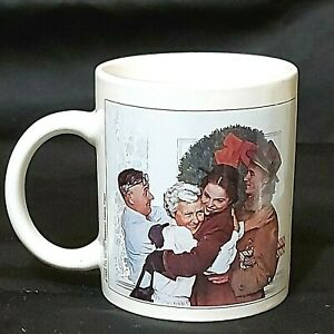 Vintage Cup Norman Rockwell Home For Christmas 1955 Preowned