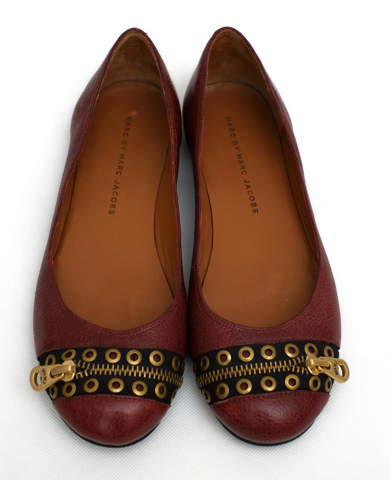New Marc Jacobs Jacobs Jacobs burgundy leather grommet zipper flats EU 37  UK 4 062d46