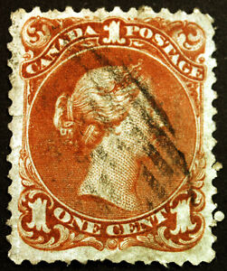 Early-Canada-22-1c-Brown-Red-1868-Large-Queen-VF-Used-Repaired