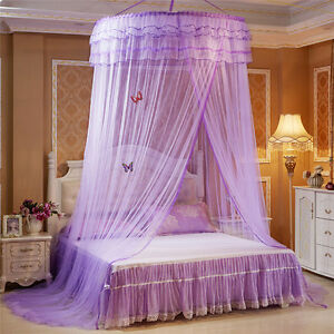 Image Is Loading Elegant Round Dome Lace Curtain Insect Bed Canopy