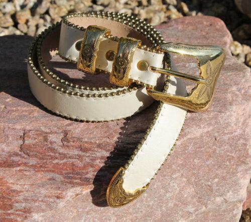b.b. Simon White Leather & Gold Buckle Western Bel