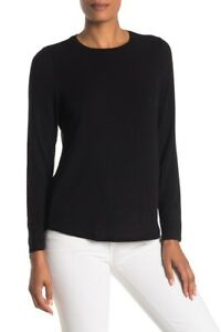 Eileen-Fisher-Black-Soft-Knit-Crew-Neck-Top-Women-039-s-Size-Large-70232