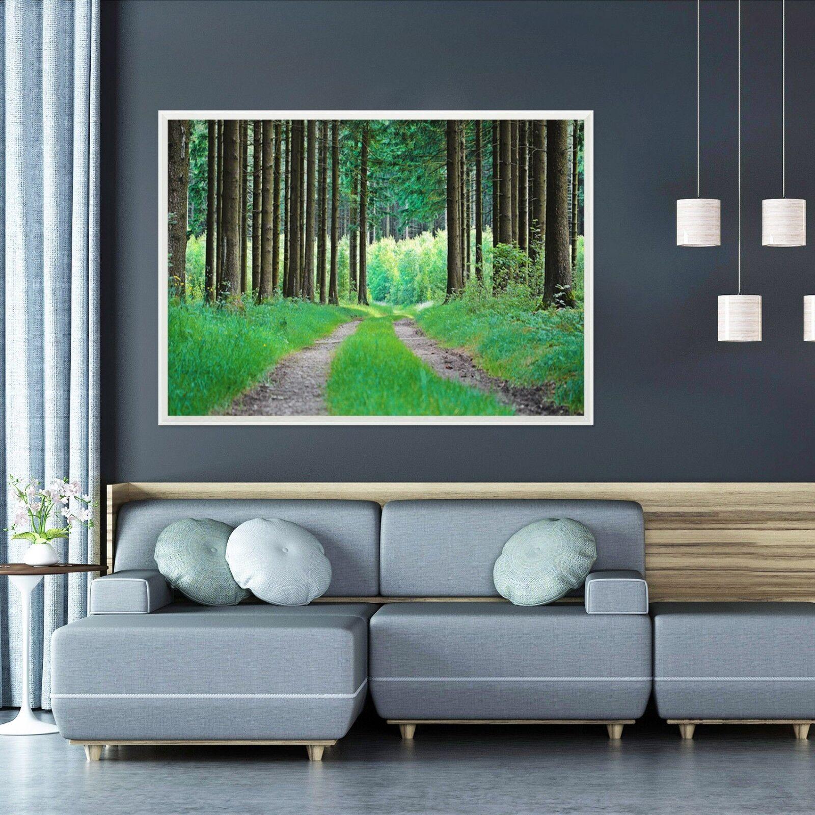 3D Green Grass Woodland 2 Framed Poster Home Decor Print Painting Art WALLPAPER