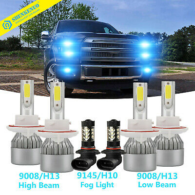 4X H13 LED Headlight+9145 Fog Light kit Fit For 2004-2018 Ford F-150 F-250 F350