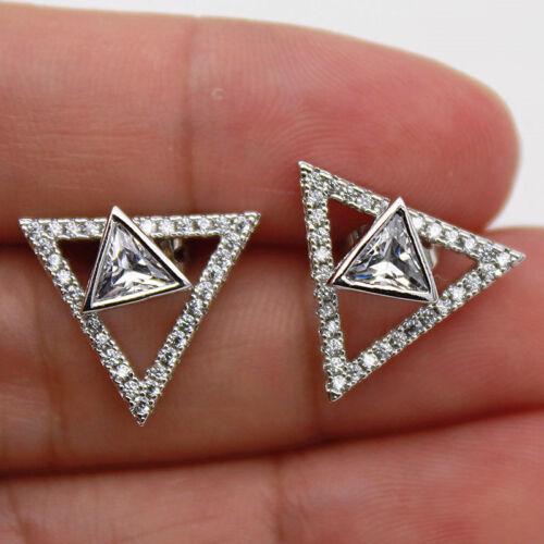 18K or blanc rempli Blanc Topaz Triangle Hollow Cross Pegeant Dame Boucles d/'oreilles