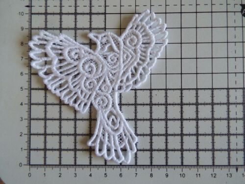 """1 x Large White Bird Blue Jay,Guipure Lace,Applique,Trimmings 3.70/"""" x 3.82/"""""""