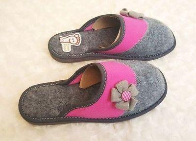 Para Mujer Eco Fieltro Lana Zapatillas Casa Tamaño De Zapato 3 4 5 6 7 8 Grueso Sole (30-31)